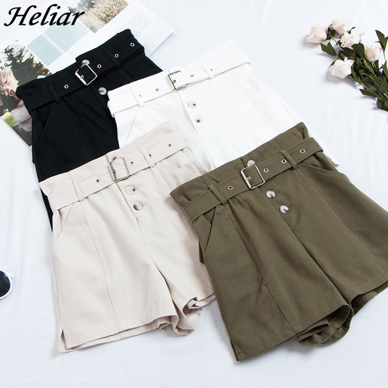HELIAR Spring Summer Formal   Shorts   Women Korean High Waist Thick Sashes Wide Leg   Shorts   Female Black Elastic Cool Punk 2019
