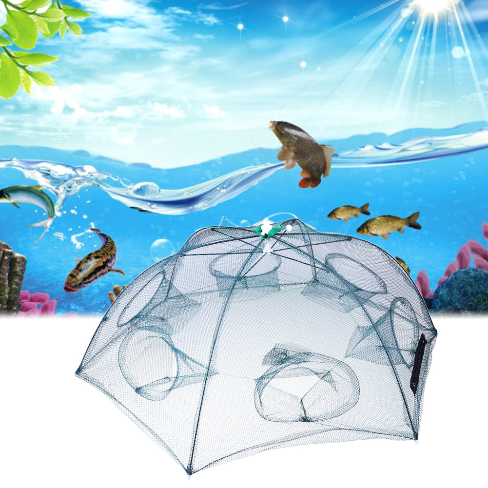 New Portable Hexagon 6 Hole Folded Fishing Shrimp Trap Fishing Net Fish Shrimp Minnow Crab Baits Cast Mesh Trap Hot Sale