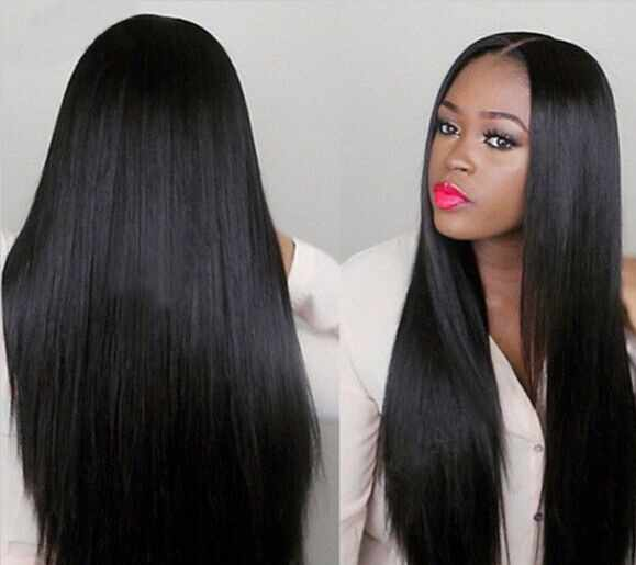 European and American Black-style Split straight hair in the medium Wigs and Long straight Hairs Wigs Hot Selling Style