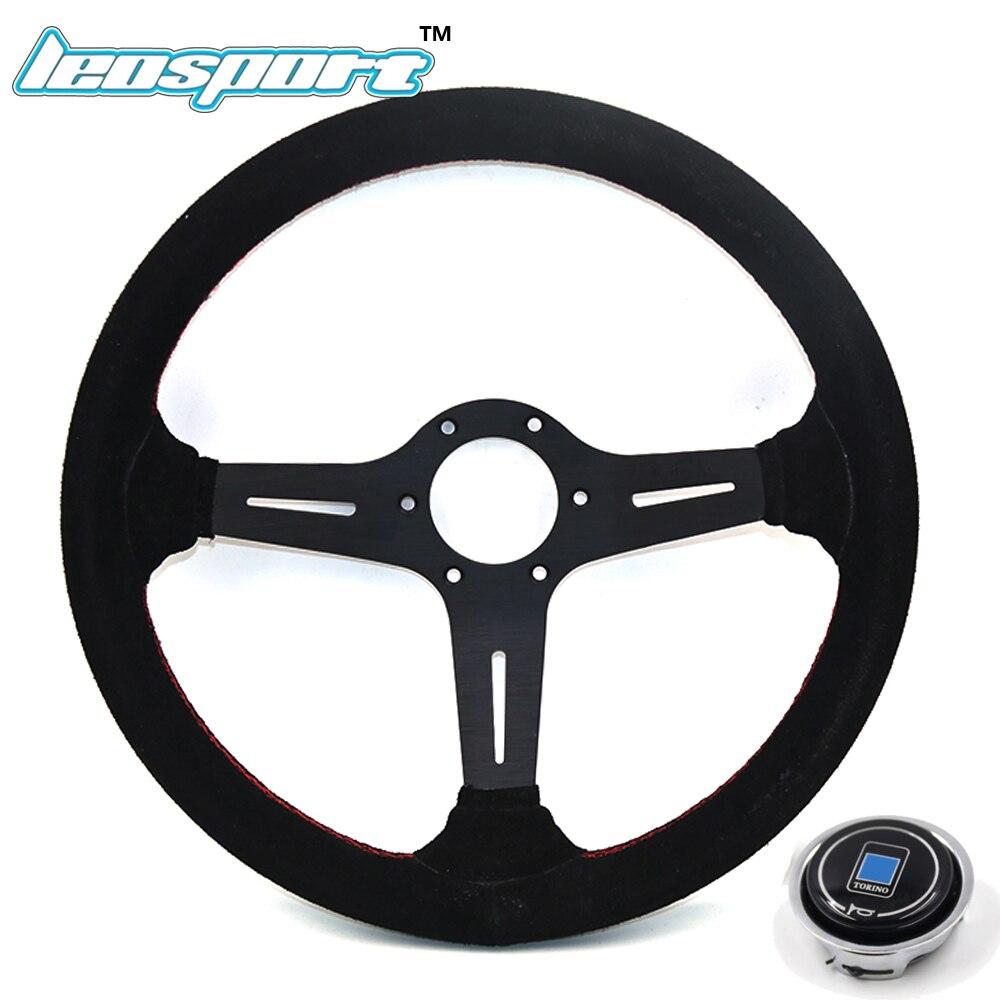 цена на Leosport-14 (350mm) ND Steering Wheel suede Leather red line Steering Wheel light deep Racing Steering Wheel