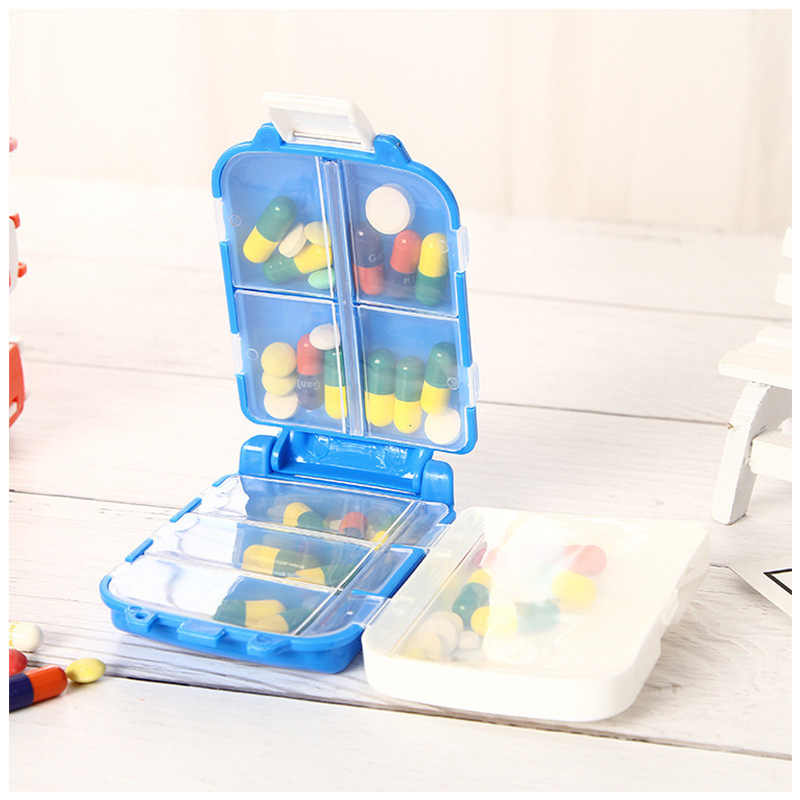 ピルボックスミニ 8 グリッド医学タブレットボックスピルボックスケースコンテナオーガナイザー健康ケア薬物旅行分周器ポータブルブルーツール