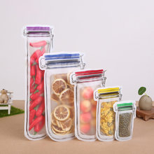 5pcs/set Completely Plastic Zip Top Lock Leakproof Containers Stand Up Reusable Food Storage Mason Bottle Zero Waste Sealed Bags(China)