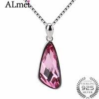 Almei New Arrival Elegant Charm Silver 925 Pink Zirconia Rhinestone Wedding Jewelry Dangle Pendants Necklace with Box 40% LN039