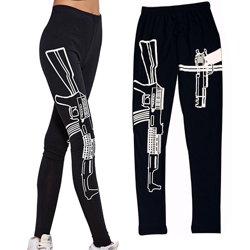 Black Elastic Cotton Shape and Fitness   Leggings   Machine Gun Print Fitness   Leggings   Pants