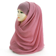 Large Size 180cm*90cm Pleated Crinkle Women's Hijab Scarf Muslim Head Wrap Shawl Plain Colours