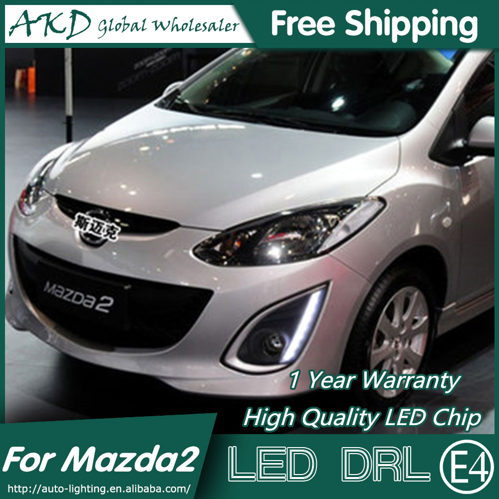 AKD Car Styling for Mazda 2 DRL 2011-2013 Mazda 2 LED DRL LED Running Light Fog Light Parking Accessories abs matte chrome interior accessory gear shift panel trim car sticker for land rover discovery sport 2015 2016 car styling