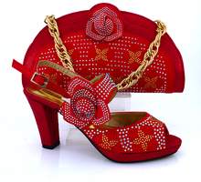 2016 New coming African sandals Italian shoes and bags to match shoes with bag set! red SIZE38-43 ! VB1-81