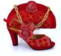 2016 Nova vindo Africano sandálias sapatos Italianos e bolsas para combinar com sapatos com saco de set! vermelho TAMANHO38-43! VB1-81