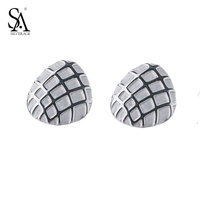 SA SILVERAGE Real 925 Sterling Silver Stud Earrings