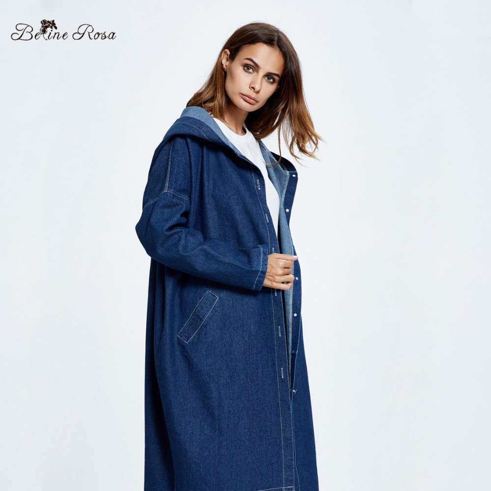 1b01255ad95 BelineRosa Plus Size Women Clothing 2018 Women s Denim Coats Hooded Long Autumn  Females Oversized Big Size Trench OST00014-in Trench from Women s Clothing  ...