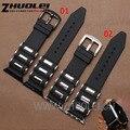 Iwatch correas De Goma 38mm 42mm Negro Caucho de Silicón Venda de Reloj de Acero Inoxidable Envuelto para apple relojes