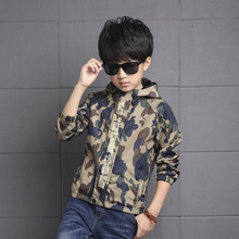 2017 New Childrens Hooded Jackets Boy Camouflage Zipper Windbreaker Long Sleeve Casual Trench Baby Outdoor Coats
