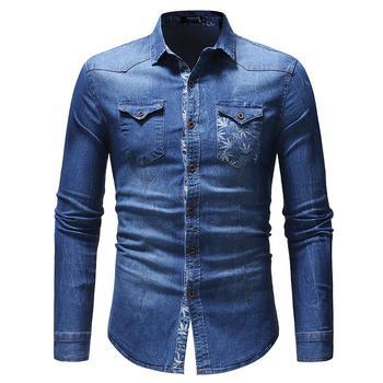 Denim Shirt Men's Clothing Leaf print Pocket decoration Long sleeve Jeans Shirt Men Blouse Blue men figure print patched denim shirt