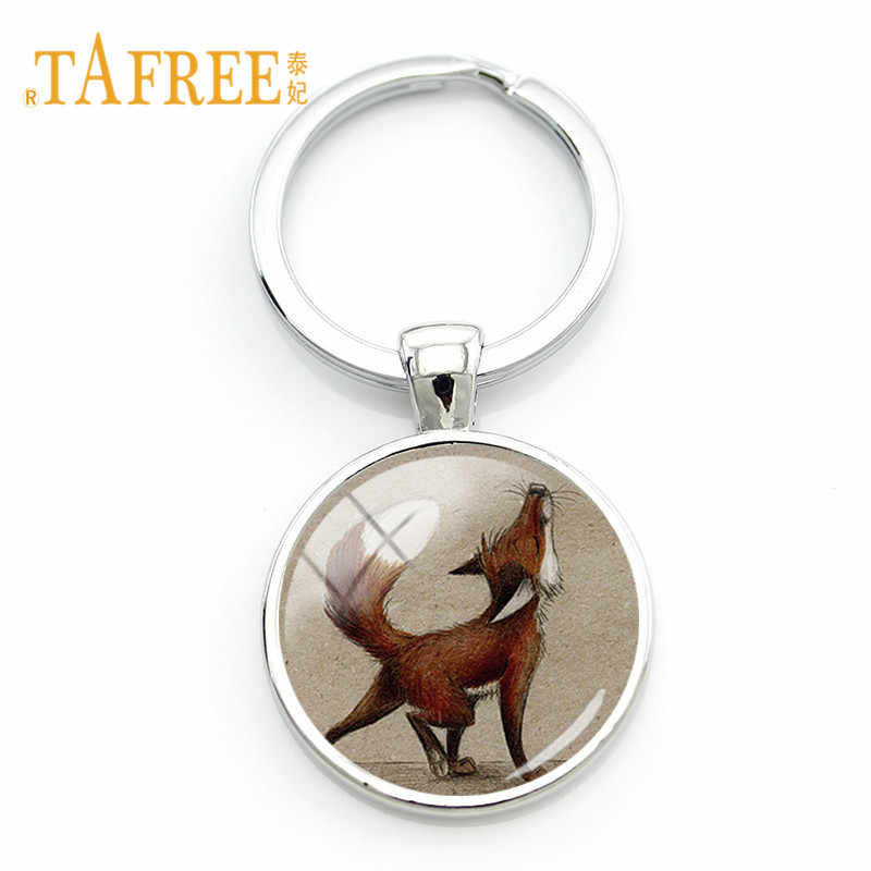 Gemas De Vidro TAFREE Keychain para Bolsa Pingente Chaveiro Anel Chave Do Carro Fox Bonito Animal Clip Art Jóias Caçoa o Presente WF02