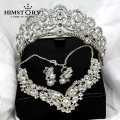Grogeous Large European Rhinestones Crystal Bridal Tiara Necklace Earring 3PCS Set Wedding Party Choker Necklace Jewelry sets