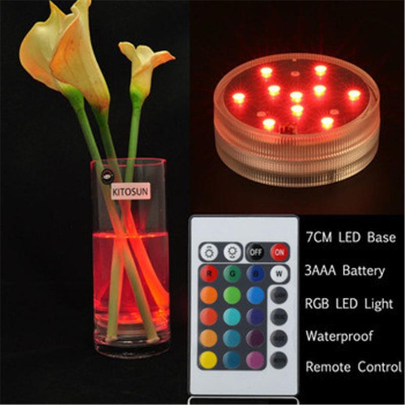 20 piezas / lote Tipo de artículo de banquete de boda Sumergible Base de luz LED RGB para botella de vino, vidrio, floreros, fumar Shisha Hookah