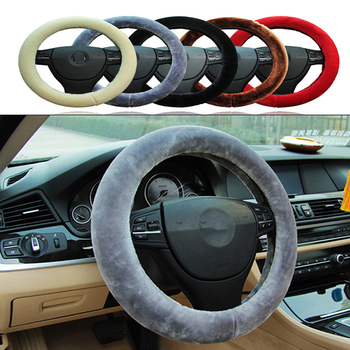 Car Accessories Plush Warm Steering Wheel Cover Woolen For Subaru Forester Impreza Kia Rio Citroen C4 C3 C5 Fiat BMW E70 G30 E30 image