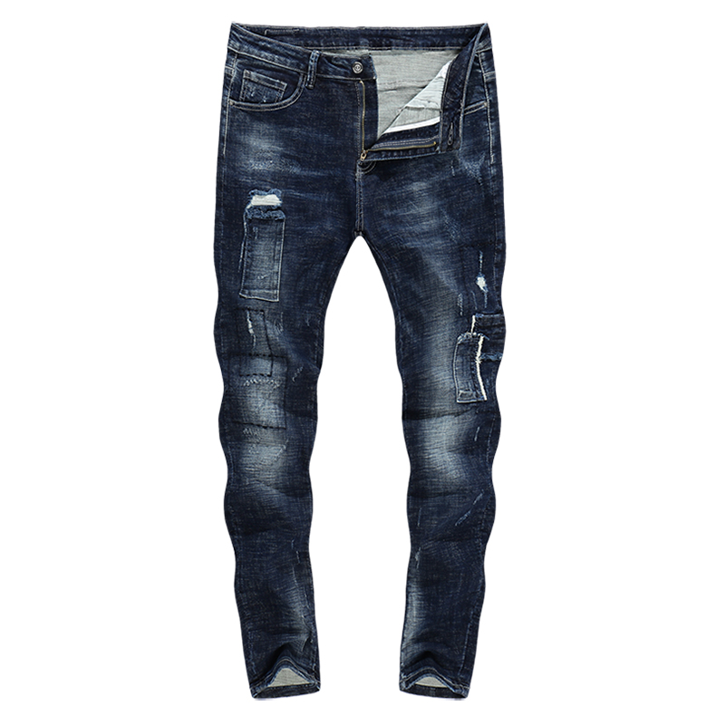 KSTUN Skinny Jeans Men Ripped Biker Jean Distressed Denim Clothes Man Patchwork Stretch Blue