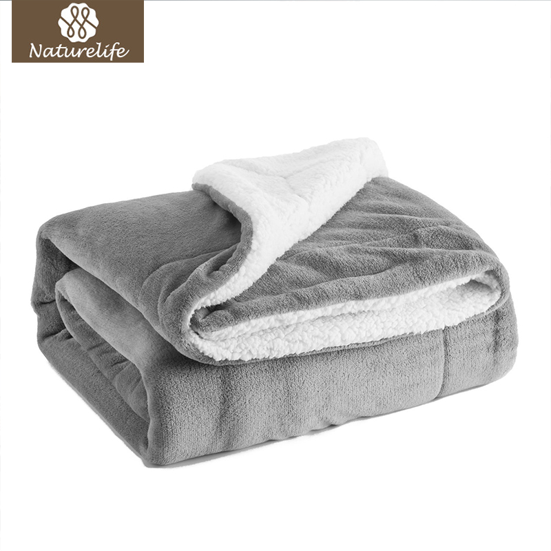 Naturelife Sherpa Double layer Weighted Blanket Thick Soft Throw Blanket on Sofa Bed Plane Travel Plaids Adult Home Textile Cobe