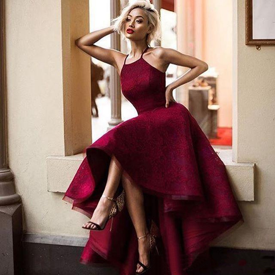 prom     dresses   2019 dark red lace vestido de gala sexy high/low   prom     dress   ball gown party   dress