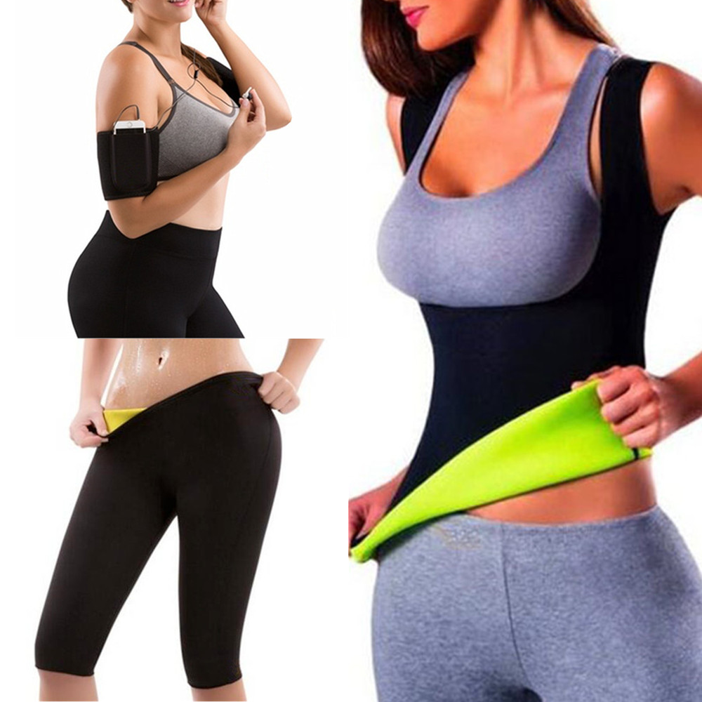 3cdf04fcbba Womens Hot Shapers Pants Hot Thermo Neoprene Sweat Sauna Hot Arms Trainer  Sleeves Body Shapers Waist