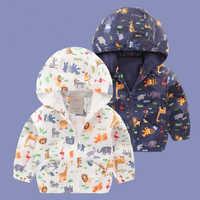 Мальчик Куртки с капюшоном характер животных верхняя одежда для мальчика Дети пальто Детская одежда плащ Весна и Осень водонепроницаемые б...
