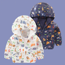 boy Jackets with hooded character animal Outerwear for Kids coat Children clothing Raincoat Spring&Autumn waterproof Brand
