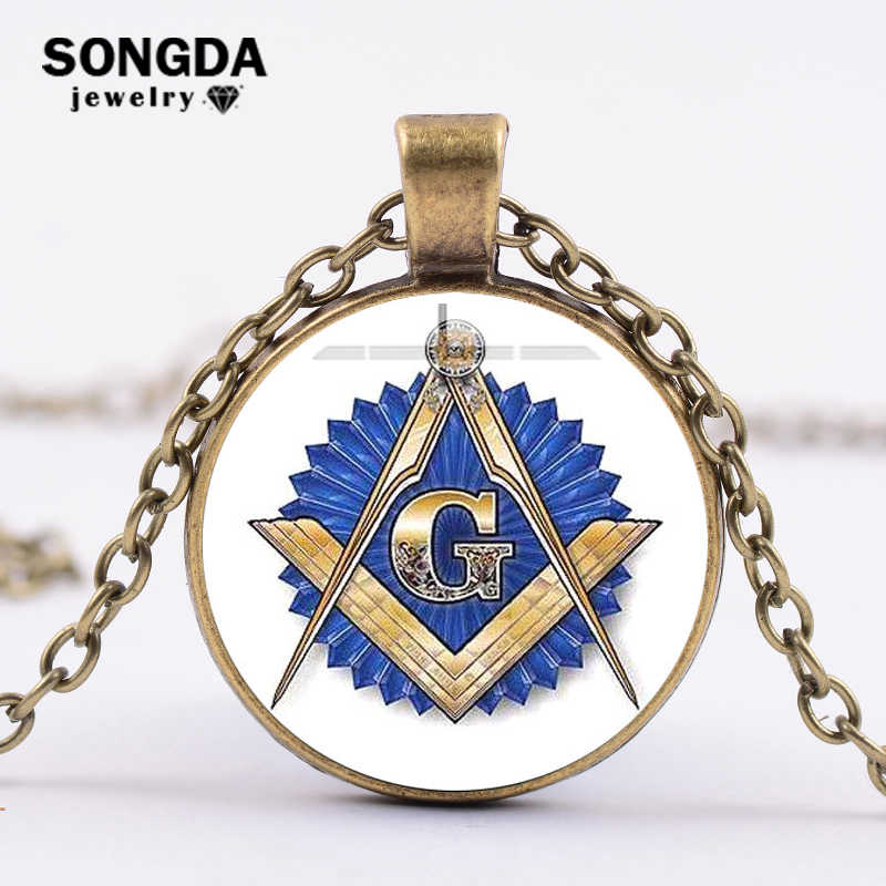 SONGDA Masonic Freemason Necklace Ancient Bronze Plated Compass and Square  G Blue Symbol Glass Dome Badge Chain Choker Necklace