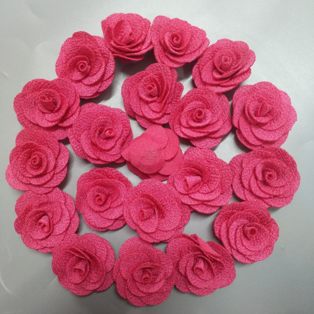 20pieces Bag Hot Pink Rose Handmade 3 5cm Fabric Roses Cotton