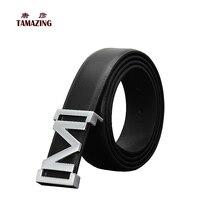 الرجال جلد طبيعي حزام م مشبك أحزمة مصمم للرجال السلس إبزيم حزام عالية الجودة الرجال
