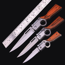 AK47 Gun Knife Folding Army Pocket Knife 440 Blade Wood Handle Outdoor EDC Tool Tactical Camping Survival Knives With LED light