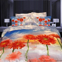 3D Watercolor Daisy Orange Flower Blue Sky Bedding Set 100% Cotton Bedlinen Pillowcase Duvet Cover Queen Size Bedroom Set 4pcs