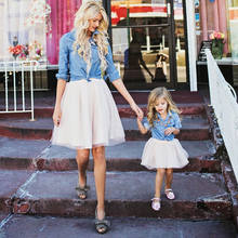 9a45dafdc7 Gogoboi Family Clothes Women Kid Mother Daughter Denim Coat Tutu Skirt  Outfits Set
