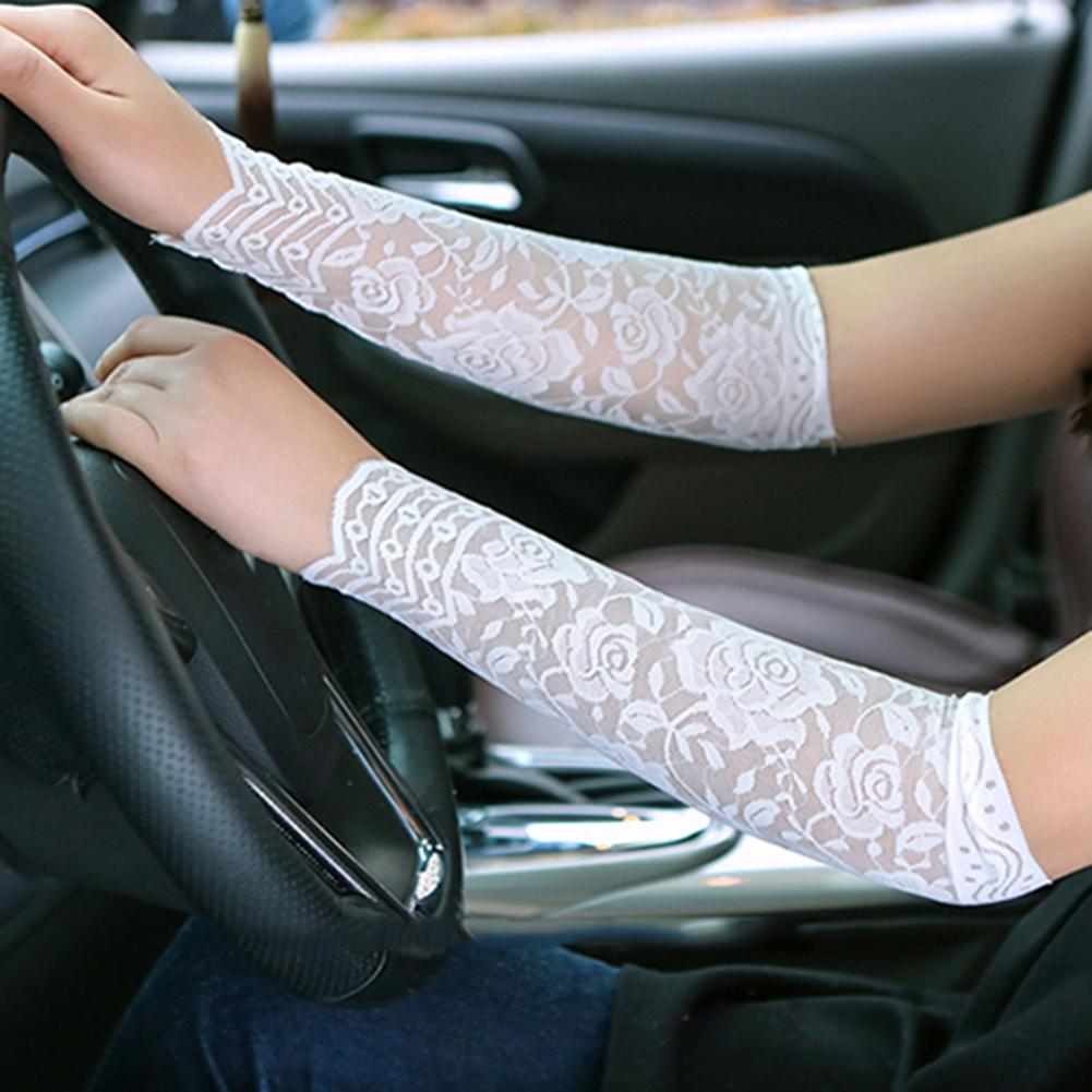 1Pair Women Fashion Summer Lace UV Tattoo Scar Arm Sleeves Cover Sun Protection Running Climbing Driving Arm Cover Hot Top Black