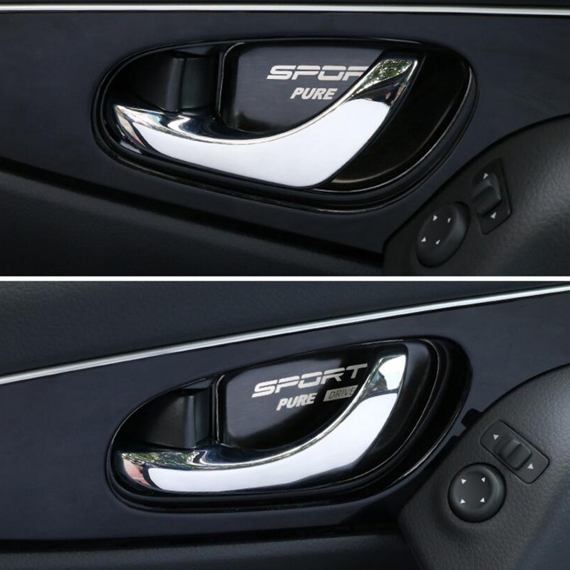 Car styling Stainless steel <font><b>Door</b></font> <font><b>Handle</b></font> Bowl Cover Stickers Trim Fit for <font><b>X</b></font>-<font><b>trail</b></font> Xtrail T32 for Rogue 2014-2020 Car Accessories image
