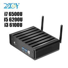 XCY безвентиляторный Mini PC Core i3 6100U i5 6200U i7 6500U 6th Gen Skylake Процессор DDR4 HDMI 4 К VGA WI-FI Windows10 мини-компьютер