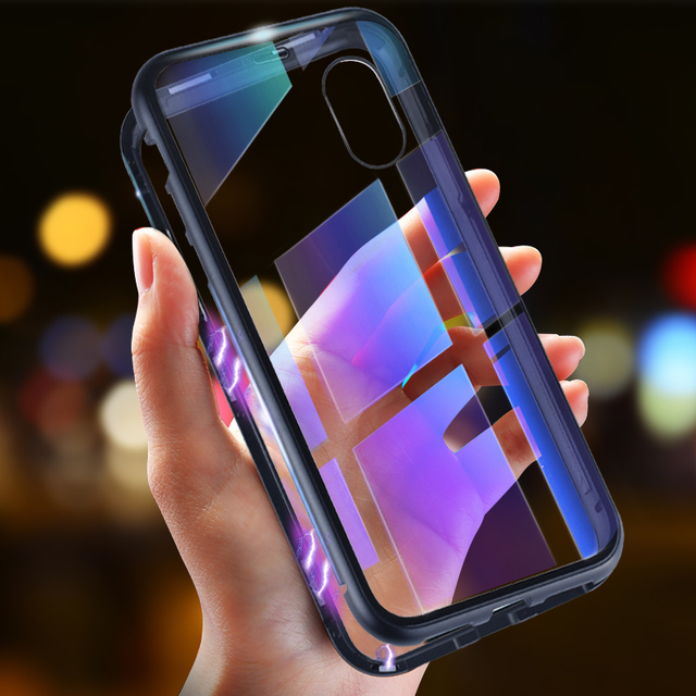 Magnetic Metal Hard Clear Case for iPhone X 8 7 6 6S Plus XS MAX XR Cover for Samsung Galaxy S9 S8 Plus S7 Edge NOTE 9 Note 8
