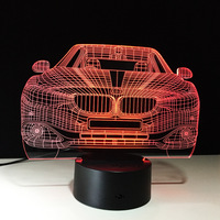 Lampada Led Car 3D 7 Color Changing LED Luminaria Night Light 3D Lamp Bedroom Lighting For