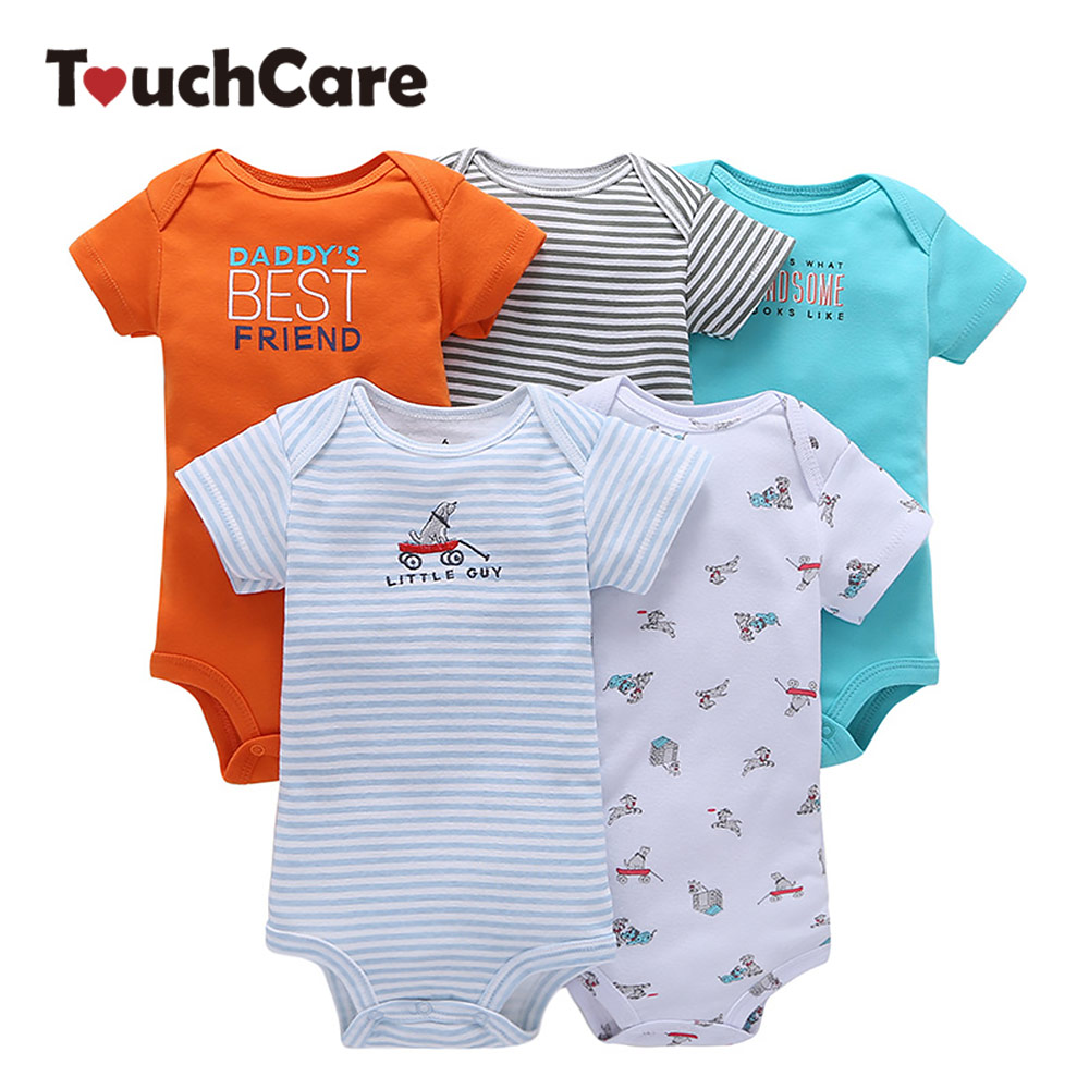 5 Pcs/Lot Baby Romper Short Sleeve Baby Boy Girl Rompers 100% Cotton Newborn Jumpsuit Clothing Set Summer Infant Pajamas Rompers 3pcs mini mermaid newborn baby girl clothes 2017 summer short sleeve cotton romper bodysuit sea maid bottom outfit clothing set