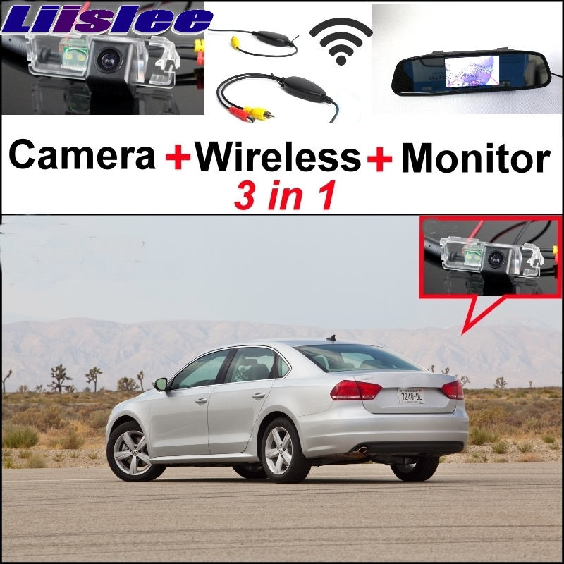Liislee 3 in1 Special Rear View Camera + Wireless Receiver + Mirror Monitor Easy Parking System For Volkswagen VW Passat B6 B7