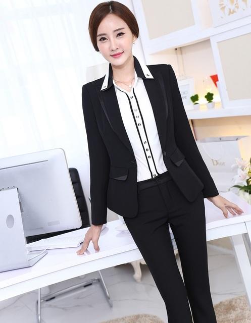 4XL más el Tamaño Uniforme de Gala Diseño Nuevo Profesional Business Women Trajes Chaquetas Y Pantalones de Otoño Invierno de Las Señoras Pantalones Conjuntos