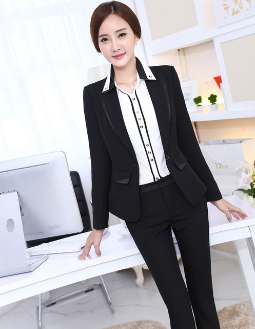 f682964b4a604 Plus Size 4XL Formal Uniform Design New Professional Business Women Suits  Jackets And Pants Autumn Winter Ladies Trousers Sets-in Pant Suits from ...