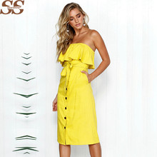 Women Dress Sexy Backless Wrapped Chest Word Shoulder Button Waistband Lotus Leaf Vestidos Largos Deverano Casual Vetement Femme(China)