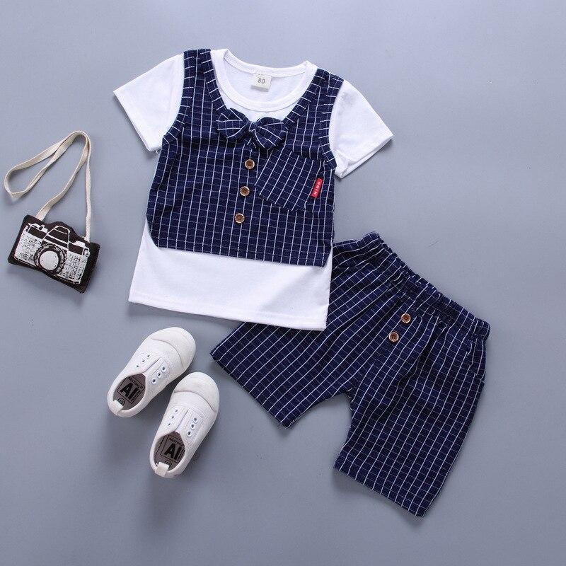 2018 2pcs Newborn Baby Boy Summer Short Sleeve T-shirt Striped Shorts Kids Summer Cotton Clothes Set Yu Mother & Kids