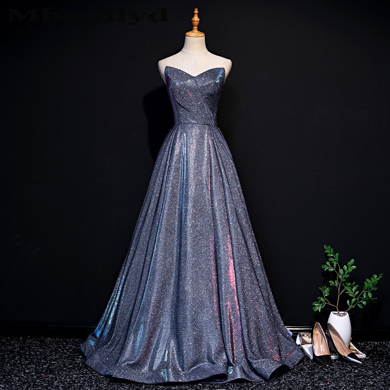 Mbcullyd Purple Sequined   Prom     Dresses   2019 Formal Long Sweep Train Girls Evening Gowns Cheap A-line Backless Vestidos de fiesta