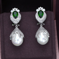 A310G wholesale blue Green white micro Pave setting Drop dangle earring,cubic zirconia and Pearl fashion best quality jcb5e55e