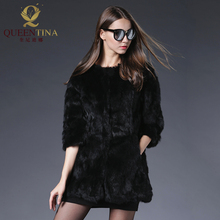 Hot Women Real Rabbit Fur Coat Jackets Genuine Fur Coat Womens Fashion Outwear High Quality Winter Warm Natural Rabbit Fur Coats