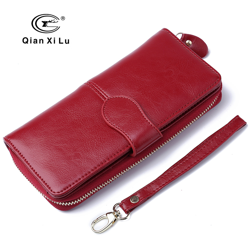 100% Oil Wax Leather Vintage Clutches Purse Genuine Leather Women's Wallets Zipper Coin Purse Day Cluthes Bags simline vintage 100