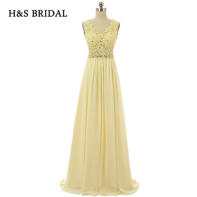 7761639dc79 H S Bridal Long Yellow V Neck Sleeveless Chiffon Formal Evening Gowns Lace  Appliques Open Back Women Party Prom Dresses