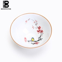 100ml Chinese White Porcelain Handpainted Lotus Bamboo Teacup Kung Fu Tea Set Tea Coffee Water Cup Liquid Sake Wine Drinkware
